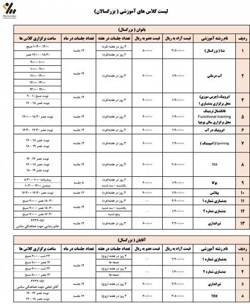 برنامه زمانبندی کلاسهای آموزشی بانوان